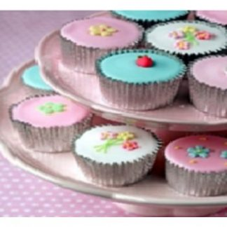 Pink Cup Cakes Canvas Wall Art
