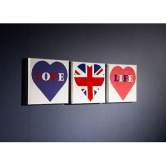 Wall Art Blue Love Life - set of 3 canvases