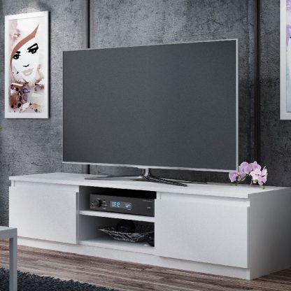 TV Media Storage Unit White