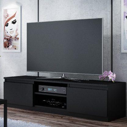 TV Media Storage Unit Light Oak